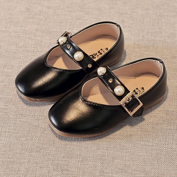 Frankmall®Enfants filles Buckle perlage Princess sandales simples chaussures occasionnelles NOIR#WQQ0926408