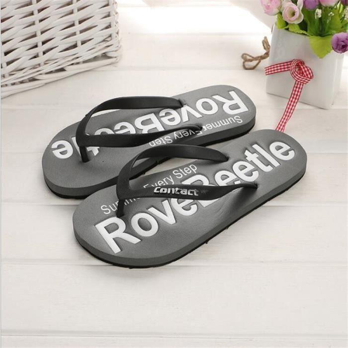 Homme tongs chaussures homme Nouvelle arrivee marque de luxe tongues chaussures de plage hommes Grande Taille 40-44 Plus De Couleur N2ebl8vtL