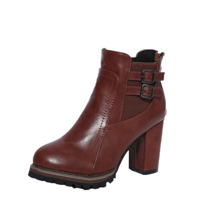 Hiver Pour Plate forme Exquisgift®botte Talons Marron~xym70829905bw Chaussures Hauts Automne vqaaw0