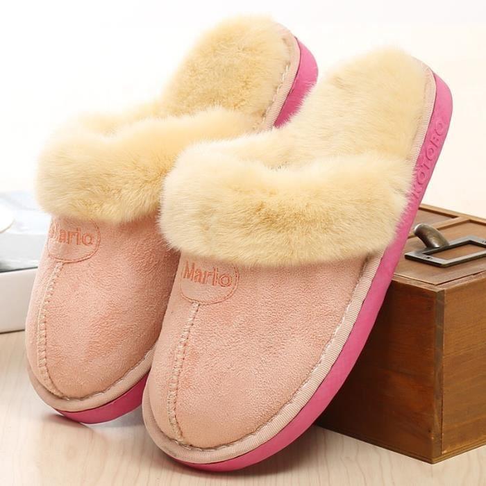 pantoufles pantoufles en coton hiver deux nouvelles pantoufles en peluche maison chaussures hiver femmes,rose,43