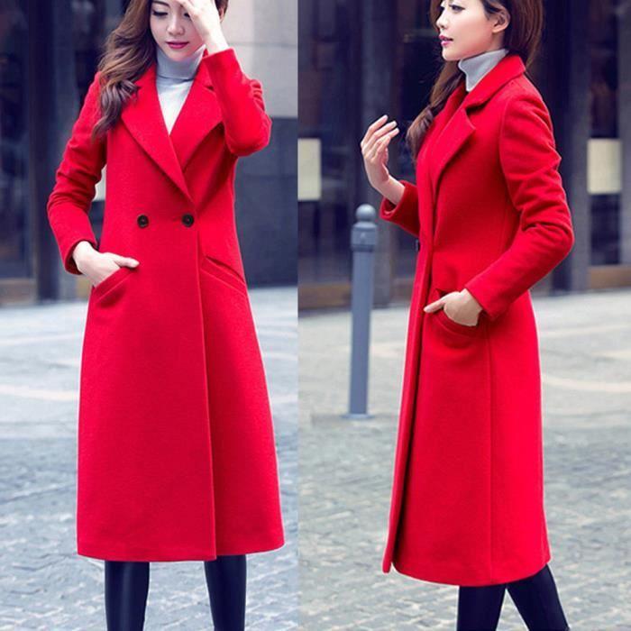 Automne Rouge Femmes Long De Laine Cardigan Outwear Mode Manteau Parka Pardessus Hiver afqSCnS