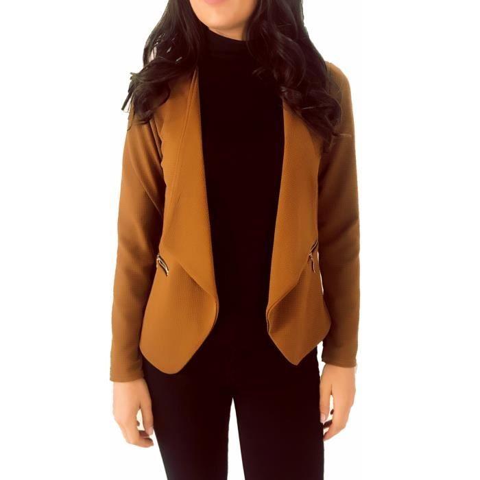 b8ef47b9f595c dmarkez-vous - Veste de BLAZER femme avec poches et zip doré - (TU - marron)