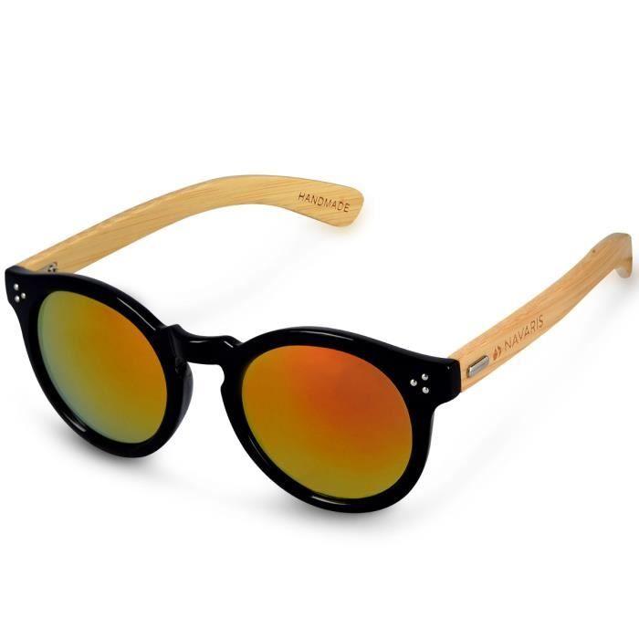 230829862c986e Navaris Lunettes de soleil UV400 - En bois pour hommes et femmes - Branches  en bambou - Lunettes en bois avec étui - différentes cou