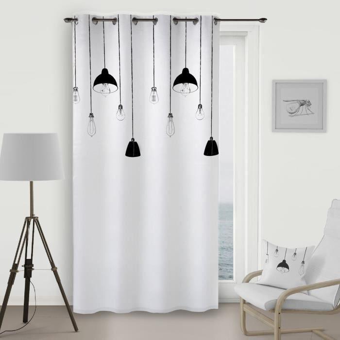 SOLEIL D\'OCRE Rideau à œillets Lampes - 140x260 cm - Blanc et noir ...