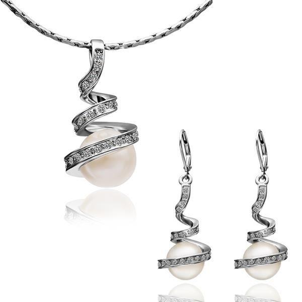 parures bijoux femme de perle et argent collier boucles d 39 oreilles achat vente parure. Black Bedroom Furniture Sets. Home Design Ideas