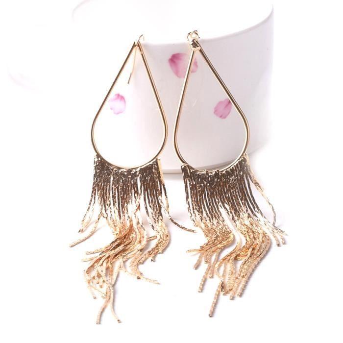 Womens 70s Retro Alloy Metal Fringe Tassel Style Long Hoop Earrings ForJ2DER