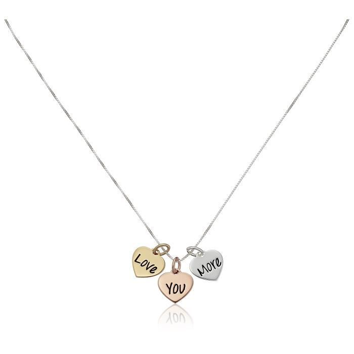 Jewel Panda Rose Or Argent Ster or jaune Flashed Triple Coeur Je taime Plus Collier