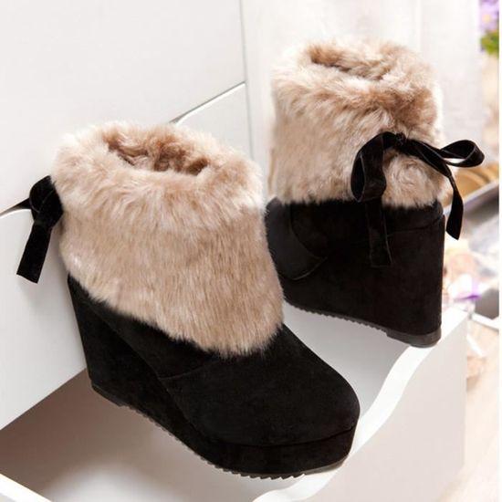 Neige Bottes Chaud Femme De Peluche Cheville Hiver Chaussures Qinhig3280 Tie Extérieur Bow rWCQeEBodx