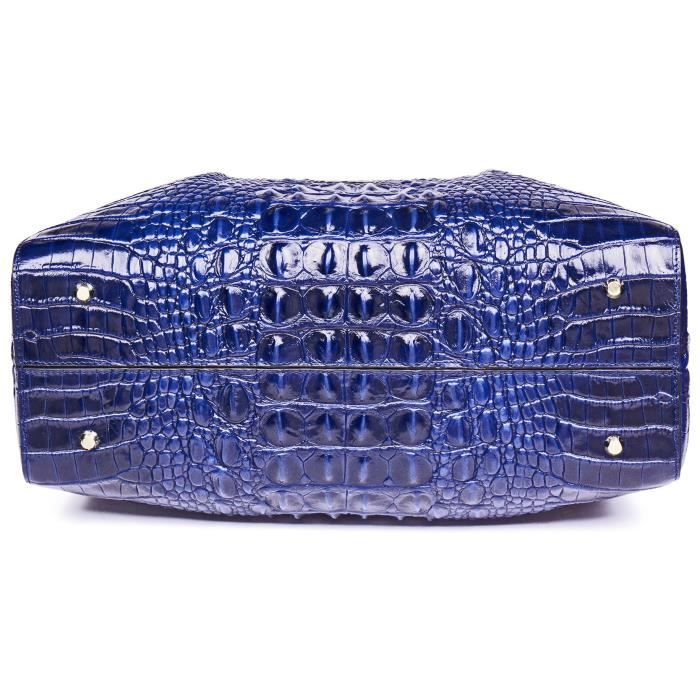 Top Handle Satchel Sacs à main Sac à main en cuir véritable gaufrée Croco Sacs à bandoulière TQZVE