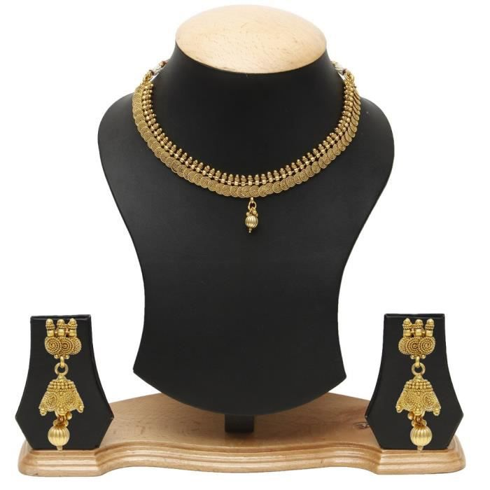 Womens Traditional Handcrafted Golden Necklace Set DZWVQ