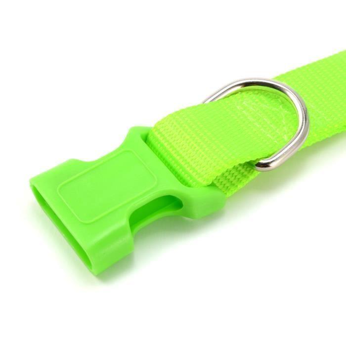 Collier Harnais Sangle Reglable En Nylon Pour Animaux Chien Vert L