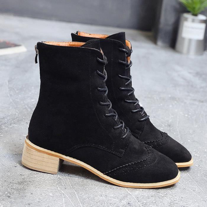 Montantes Lafayestore®suede Xym80904902bk37 Femme Cheville Cuir Bottes Noir Chaussures Plates Mode Épais wHYaxT