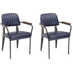 NELLY Lot de 2 fauteuils de salle ? manger bleu vintage - L 60 cm x P 63 cm