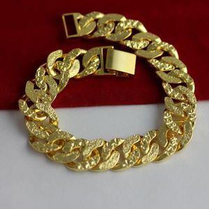 BRACELET - GOURMETTE hip hop bracelet or jaune 18 carats plaqué sculpté