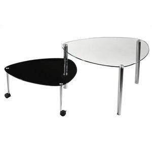 TABLE D'APPOINT Table d'appoint réglable Treviso verre noire pieds