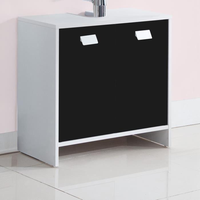 Panneaux de particules noir et blanc - L 60 x P 29,5 x H 56 cm - 2 portes , 1 étagère.MEUBLE SOUS VASQUE - MEUBLE VASQUE INTEGREE - PLAN DE TOILETTE