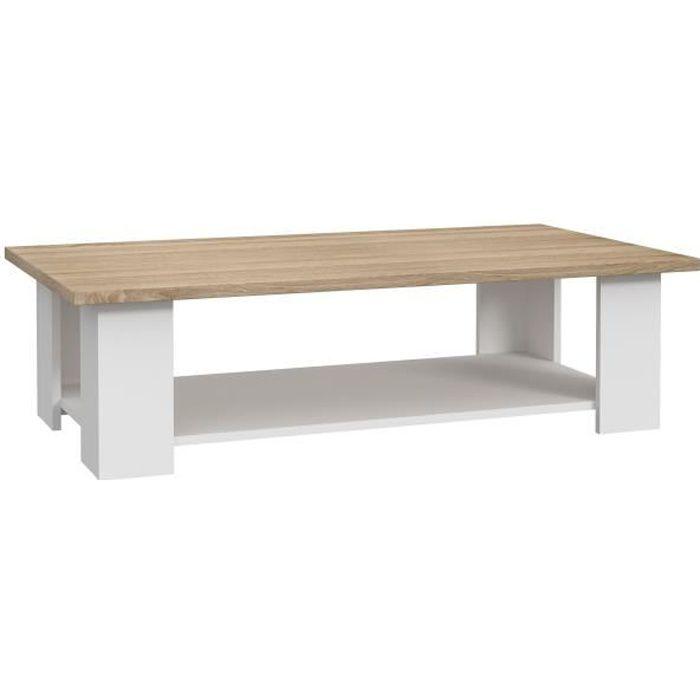 PILVI Table basse rectangulaire - Blanc et chêne sonoma - L 110 x P 60 x H 31 cm