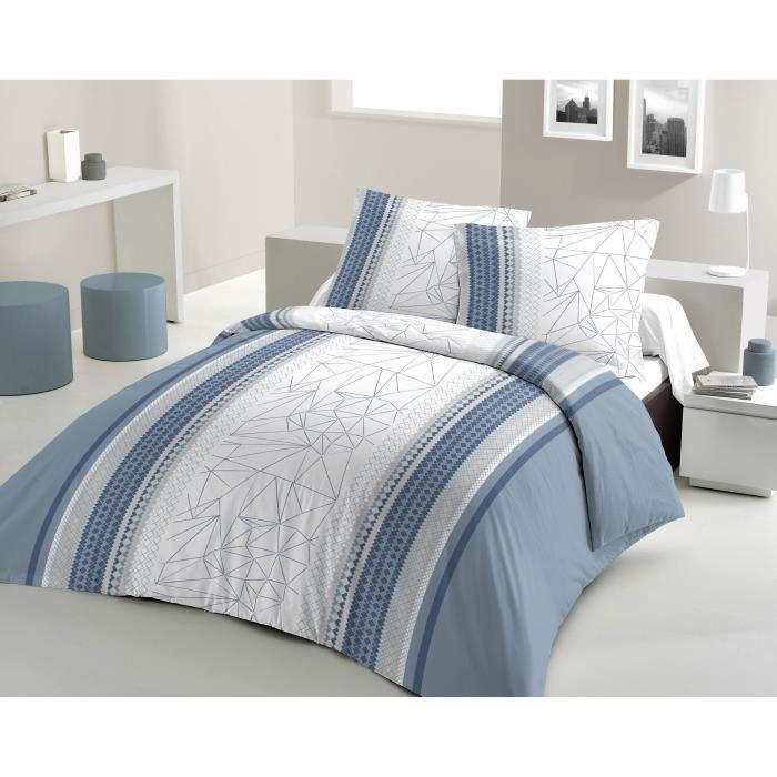 Matière : 100% coton tissé serré 54 fils - Dimensons : 220x240/ 65x65 cm - Coloris : bleu, blanc et grisPARURE DE COUETTE