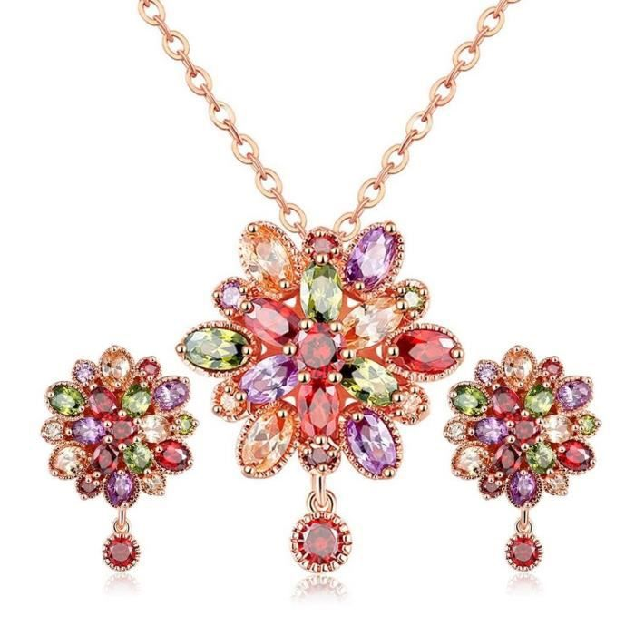 Womens Valentines Collection : Crystal Elets Sparkling Colors Floral Design Splendid 18k Rose Go SQ8SX