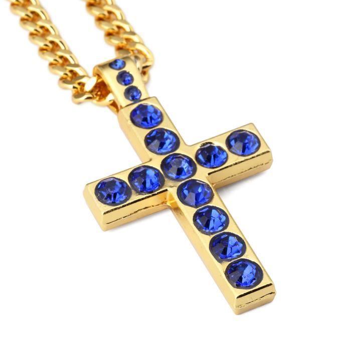 plaqué charme saphir pendentif croix collier or jaune 18 carats simples long collier croix hip hop chrétien