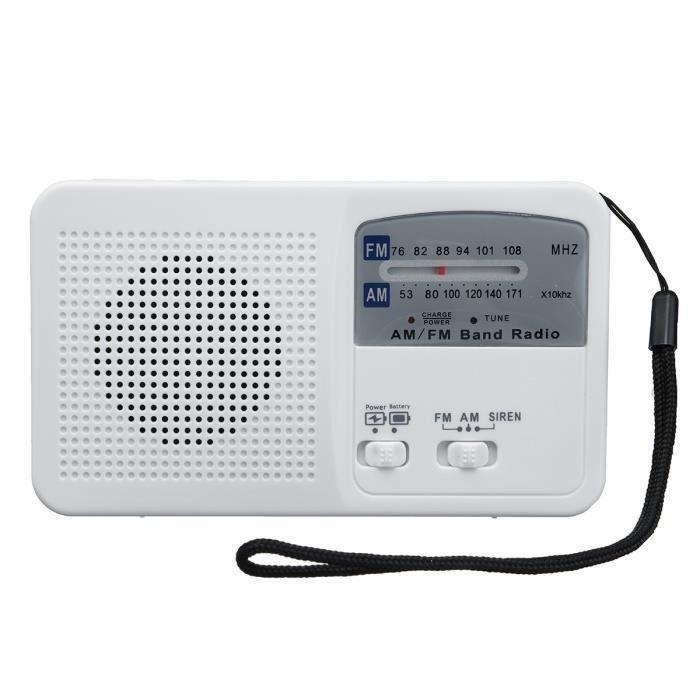 Solaire Lumière Radio Am Fm Lampe De Poche Manuel Charge Usb Alarme Exterieur Blanc