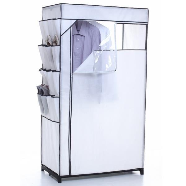 armoire en toile et rangement chaussures blanc achat. Black Bedroom Furniture Sets. Home Design Ideas