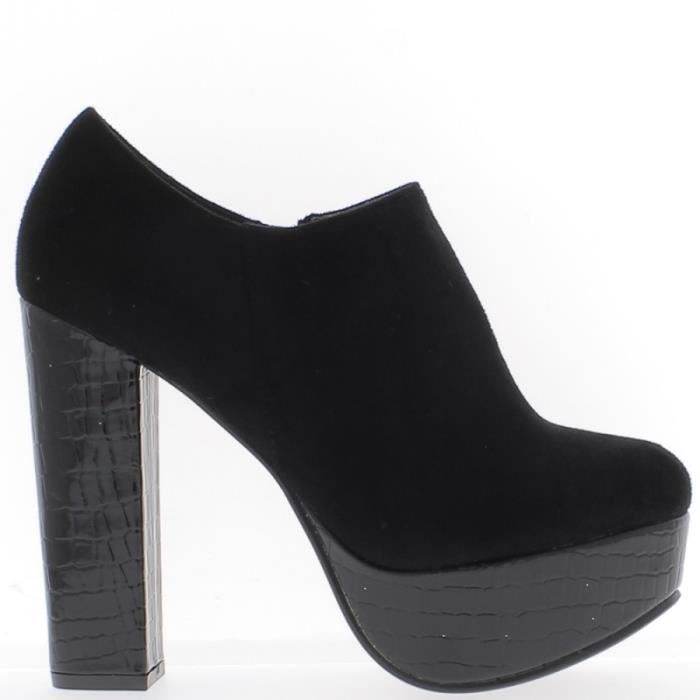 Low boots noires à talon épais de 12,5cm bi matière