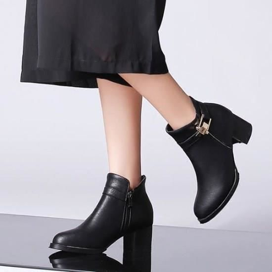 2016 femme dans le confort de l'automne et l'hiver bottes à talons chunky côté fermeture éclair ceinture boucle Boots femme que nue rcMygd51H