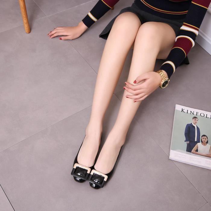 ballerine-Pure Color talon plat pour femme en m...