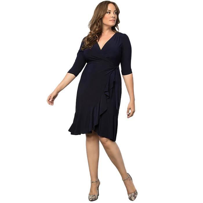 exquisgift®Mode plus taille robe de manches robe de soirée en vrac pour femmes MARINE~MJJ71129292NYA