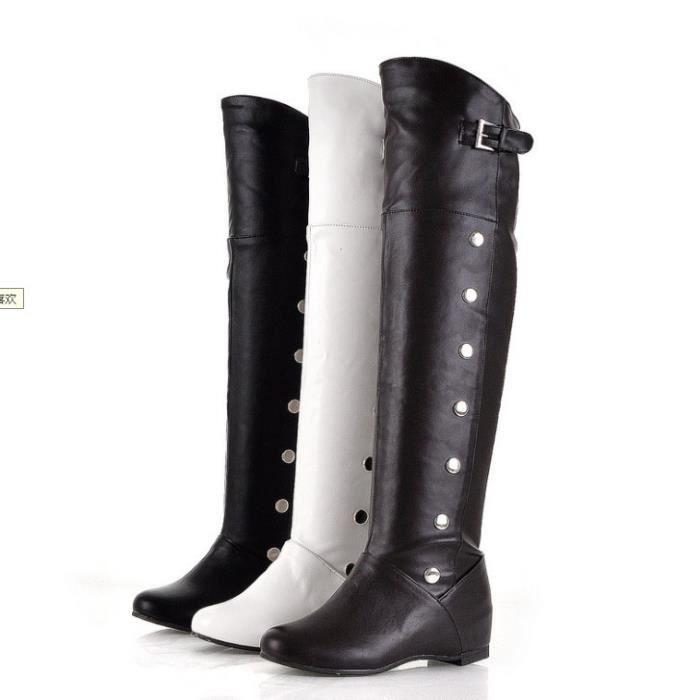 Nouvelle mode des femmes réel en cuir véritable Cuissardes femme Flat Martin Boot Femme Toe Round Up Chaussures Taille 34-47,noir,38