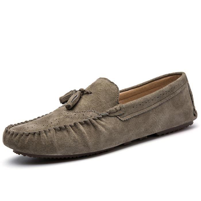 Chaussure Homme Mocassin De Ville En Cuir En Daim Talons Plats Populaire BLLT-XZ120Gris44 LmFphbDd