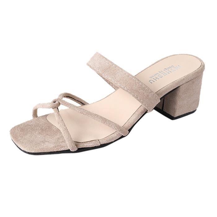 chaussures de sport 11239 86648 Été Femmes Fille Sandales Dames Pantoufle Croix Frénulum ...