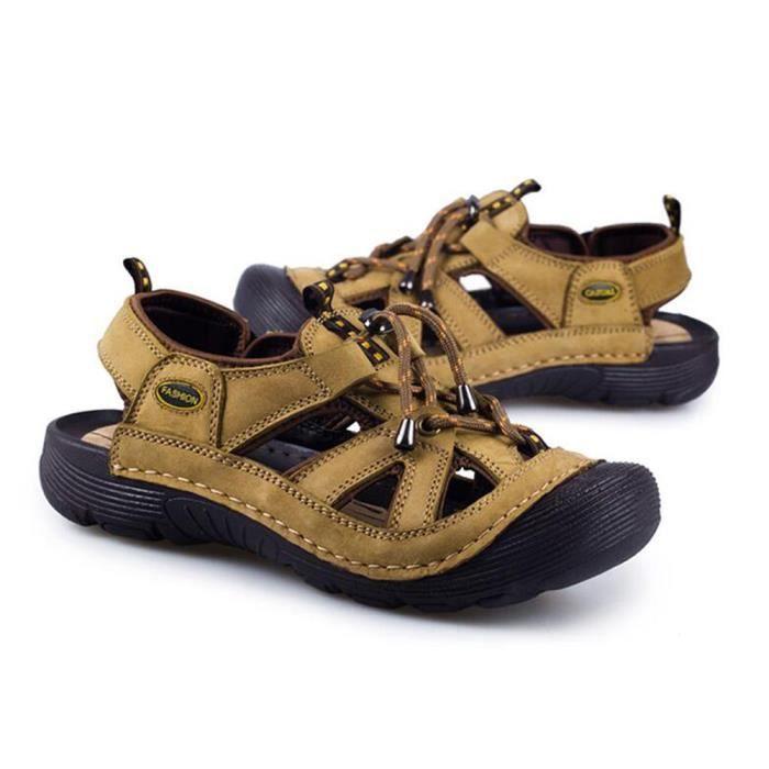Nouveau Chaussures Khaki 2018 Randonnée Sandale De Été Cuir Hommes w80knOP