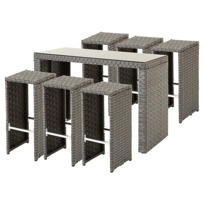 ensemble table de bar avec 6 tabourets en r sine tress e coloris bleu stone achat vente. Black Bedroom Furniture Sets. Home Design Ideas