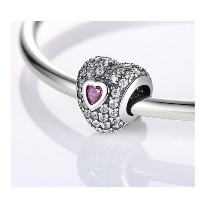Charms Bead Coeur en Argent 925 et Petit Coeur Cristal Rose - Blue Pearls