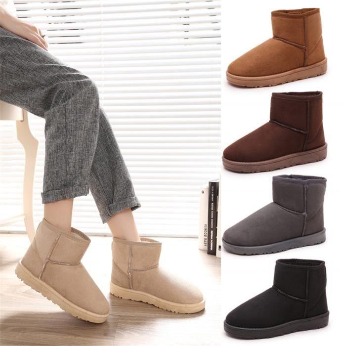 Bottes De Neige Hiver plus cachemire chaud Chaussure Femme Durable Confortable Antidérapant Botte Couleur unie Taille 36-40