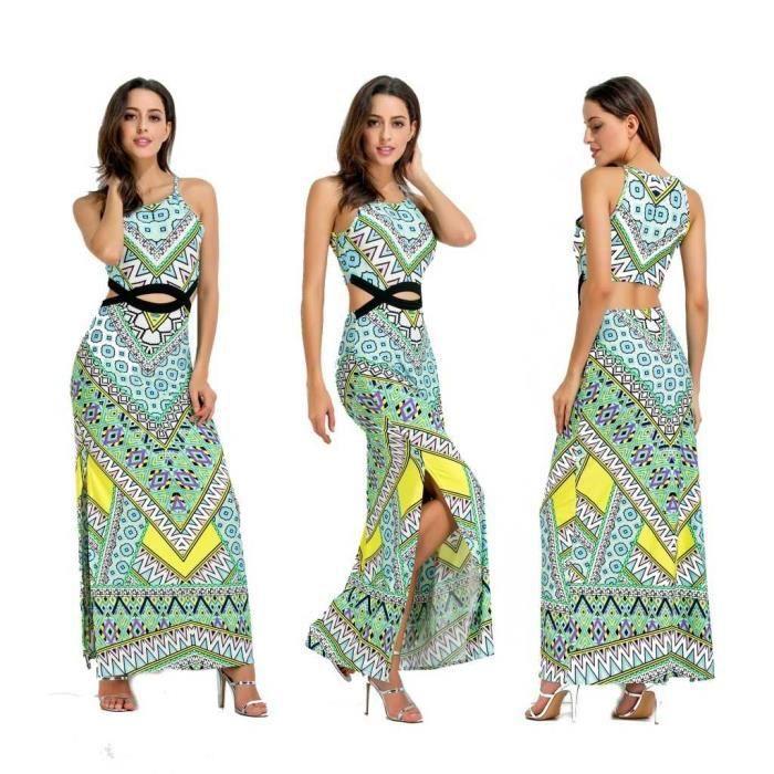 97484be97e7 ... Robe longue robe de plage Femme Chic 2018 Printemps Ete - Style bohème  impression - 165 ...