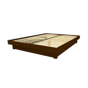 STRUCTURE DE LIT Lit plateforme bois massif pas cher (Wengé - 140x2
