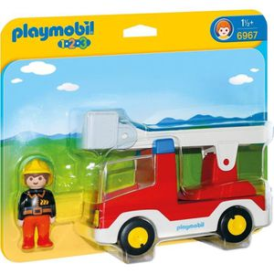 FIGURINE - PERSONNAGE PLAYMOBIL 1.2.3. 6967 Camion de Pompier avec Echel