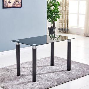 Table a manger verre pied noir achat vente table a manger verre pied noir pas cher cdiscount - Table a manger en verre trempe ...