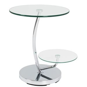 TABLE D'APPOINT Table d'appoint en acier et verre trempé - Dim : D