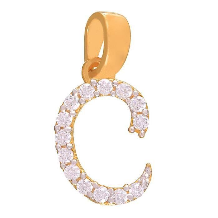 Plaqué or féminin Charme C pendentif en forme de laiton en alliage avec Cz Pour Ps1101303g R84KO