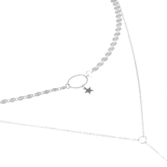 Estimetown®Femmes Multicouche Collier Pendentifs irréguliers Collier déclaration de chaîne Argenté@YNZ09201152