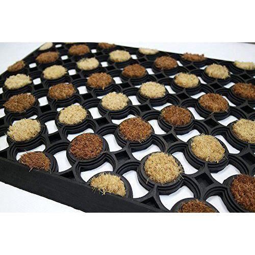 id mat n40600220 echiquier tapis paillasson fibre coco caoutchouc beige brun 60 x 40 x 1 6 cm. Black Bedroom Furniture Sets. Home Design Ideas