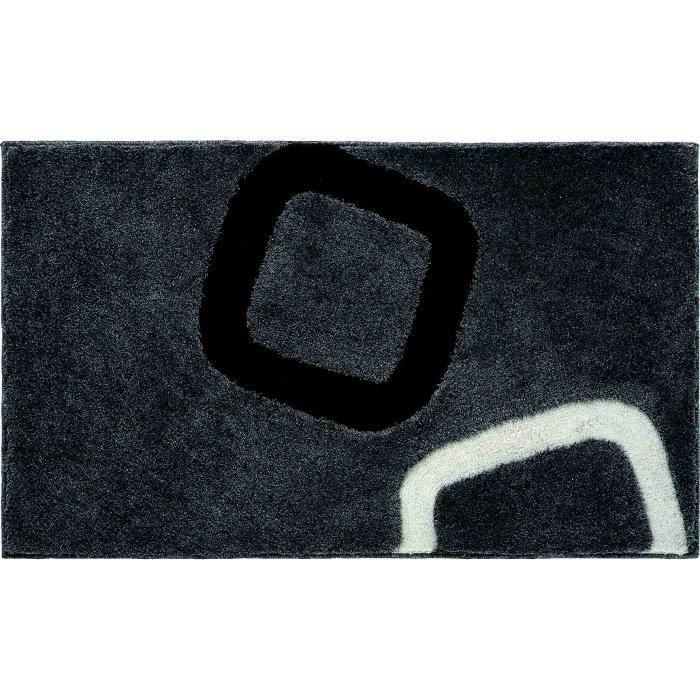 Tapis de salle bain 50 x 60 cm design couleur noir gris blanc ...