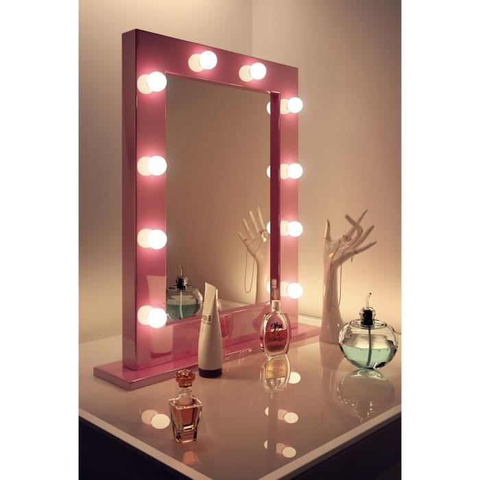 miroir de maquillage rose hollywood lampes del blanches froides k153cw