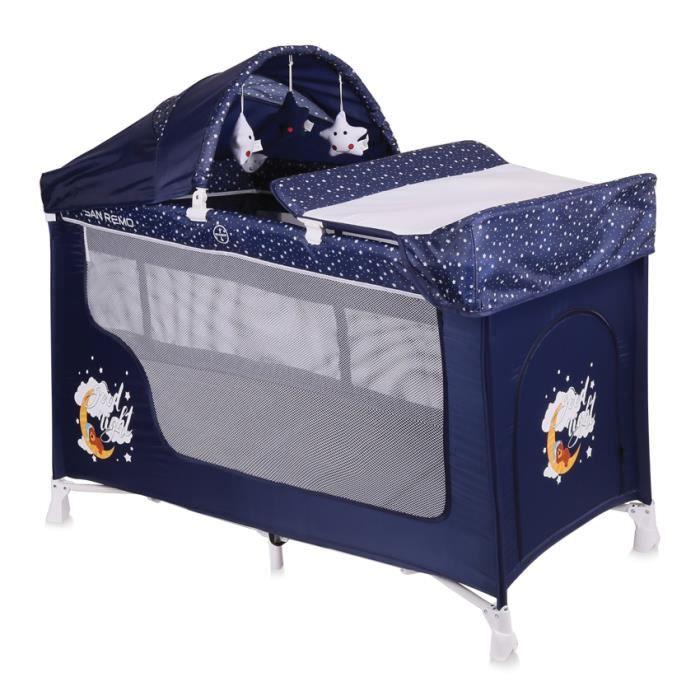 d3be602dc9c818 Lit parapluie bébé   Lit pliant à 2 niveaux SAN REMO 2+ Bleu Lorelli ...