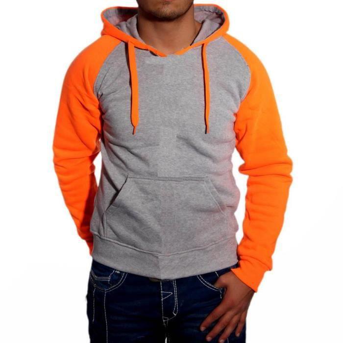 ee6d457b2e00e Sweat Shirt à Capuche Bi Color Pour Homme Fas... Orange - Achat ...