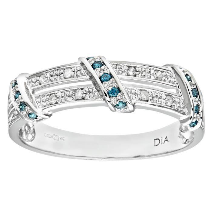 Revoni Bague alliance Diamant bleu et Diamant Or Blanc 375° Femme: Poids du diamant : 0.1 ct - CD-PR08078WBlueDia-P